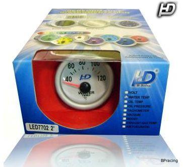 HD vízhőfokmérő műszer 52 mm, kék világítás