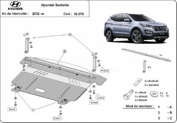 Hyundai Santa Fe 2012- motorvédő lemez