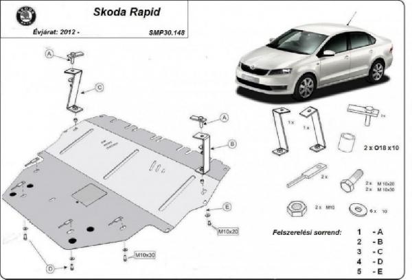 Skoda Rapid 2012- motorvédő lemez