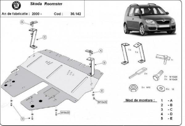 Skoda Roomster 2004- motorvédő lemez