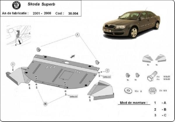 Skoda SuperB 2001- motorvédő lemez
