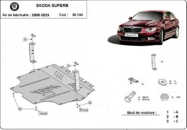 Skoda SuperB 2008- motorvédő lemez