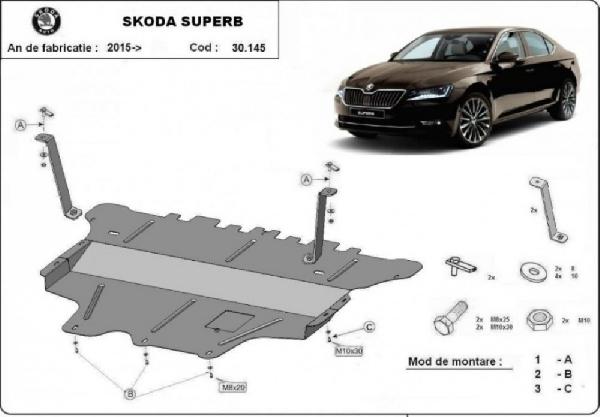 Skoda SuperB 2015- motorvédő lemez