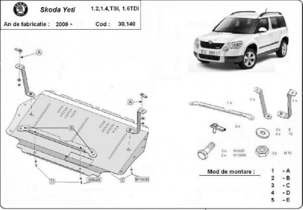 Skoda Yeti 2009- motorvédő lemez