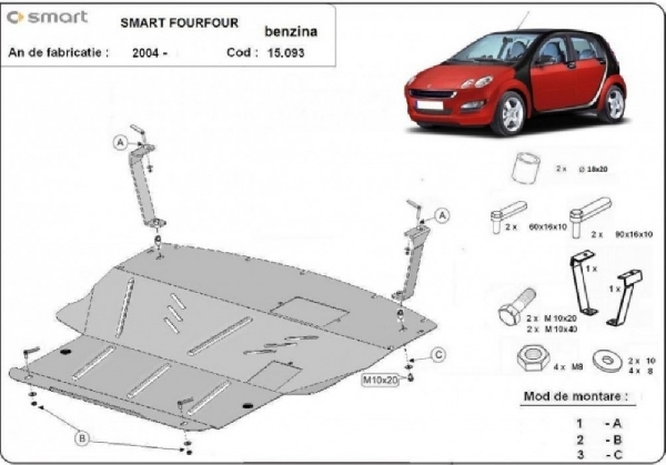 Smart FourFour 2004- motorvédő lemez
